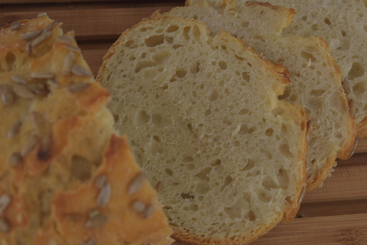 Soft crumb and crunchy crust of a LoafNest yogurt 'sourdough' bread